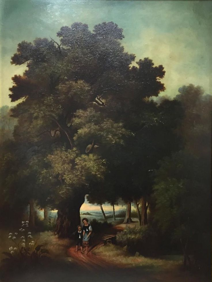 """Woman and Boy Sauntering Through the Woods"" Oil on board. Painted in 19th century. Guilded frame."