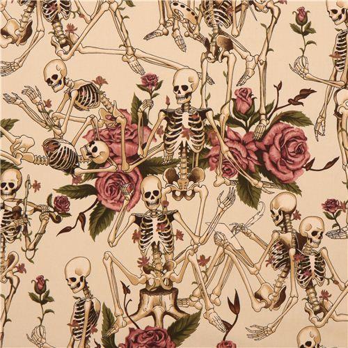 beige Alexander Henry skeleton skulls fabric Life's Little Pleasures 1