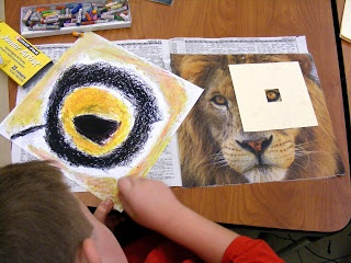 3rd grade second unit--animal enlargements in oil pastel - nice twist on my animal lesson!----third grade adaptation project. Enlarging the adaptation with a pastel drawing and hanging the beside the original photograph along with a student explanation of the adaptation. Maybe the adaptation explanations could be written in animals POV.