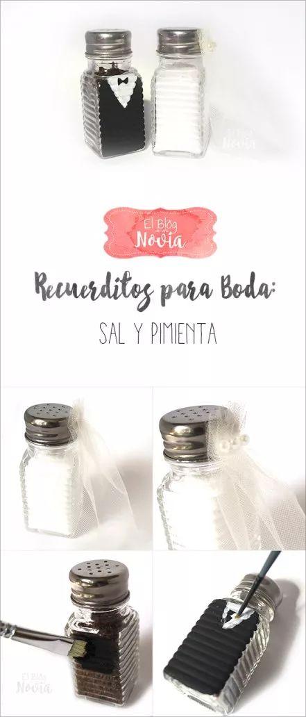 DIY Sal y Pimienta de Novios como recuerdo de boda
