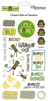 Reminisce MONKEY BUSINESS Rub-Ons scrapbooking 99 CENT SALE!
