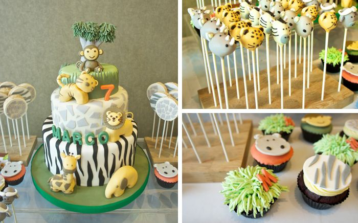 A spectacular collection of cake, cakepops and cupcakes for a jungle party... / Una colección espectacular de tarta, cakepops y cupcakes para una fiesta selva...