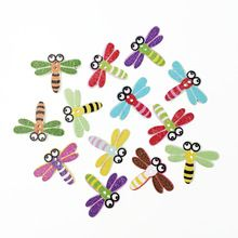 100Pcs Popular Bulk Mixed Dragonfly Wood Button Sewing Accessories Decoration Buttons Handmade Scrapbooking Craft DIY 20*25mm