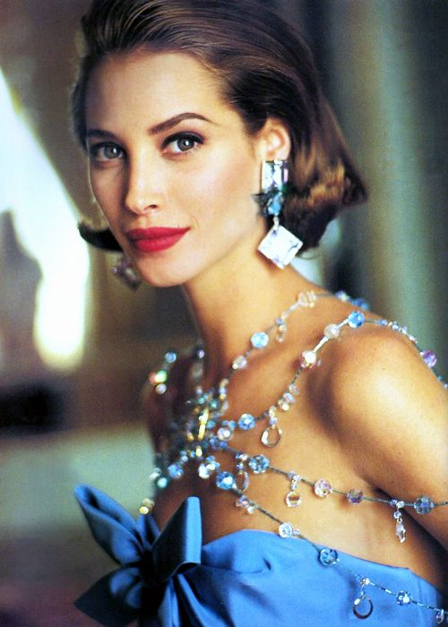 1991. Vogue Paris. Model Christy Turlington wearing Yves Saint Laurent. Photo by Arthur Elgort (B1940)