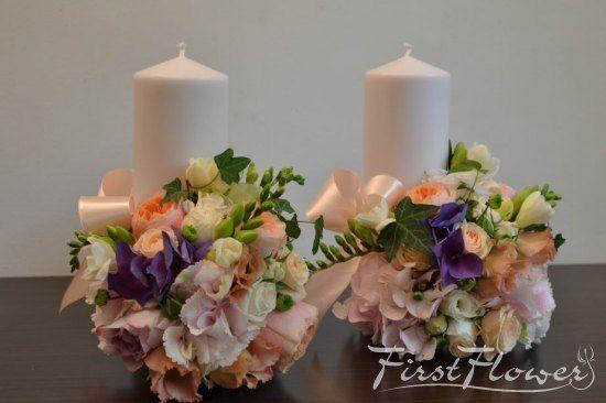 Lumanari pentru nunta, scurte cu trandafir David Austin somon si hortensie roz pal.