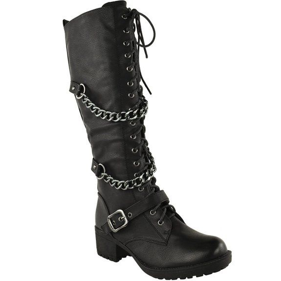 LADIES WOMENS KNEE HIGH MID CALF LACE UP BIKER PUNK MILITARY COMBAT BOOTS SHOES (UK 6, Black Faux Leather)