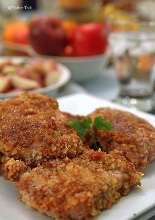 Apple Butter Dredged Pork Cutlets - I added about 3/4 tsp - 1 TBS of dijon mustard to a cup of apple butter, to cut some of the sweetness.