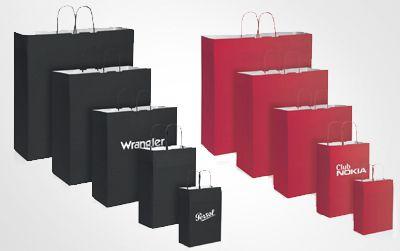 Borsa shopper in carta personalizzabile con il proprio logo. Maniglia ritorta carta kraft bianca, 110 gr/mq