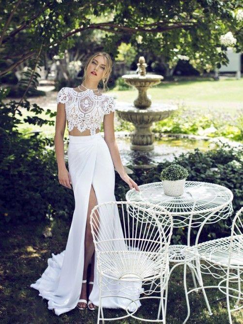 Elegant Sheath/Column High Neck Court Train Lace Chiffon Two Piece Prom Dress