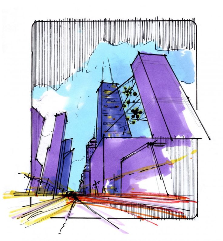 Sketch for the Live Between Hotel Concept by HKS Architects