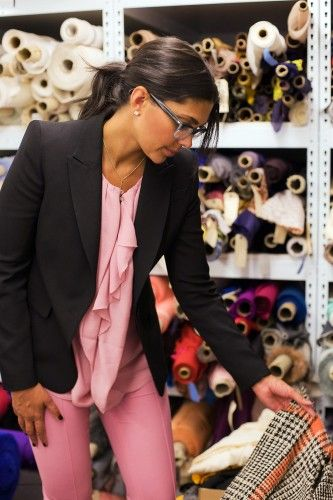 Pink with black blazer. Rachel Roy is always feminine yet professional.