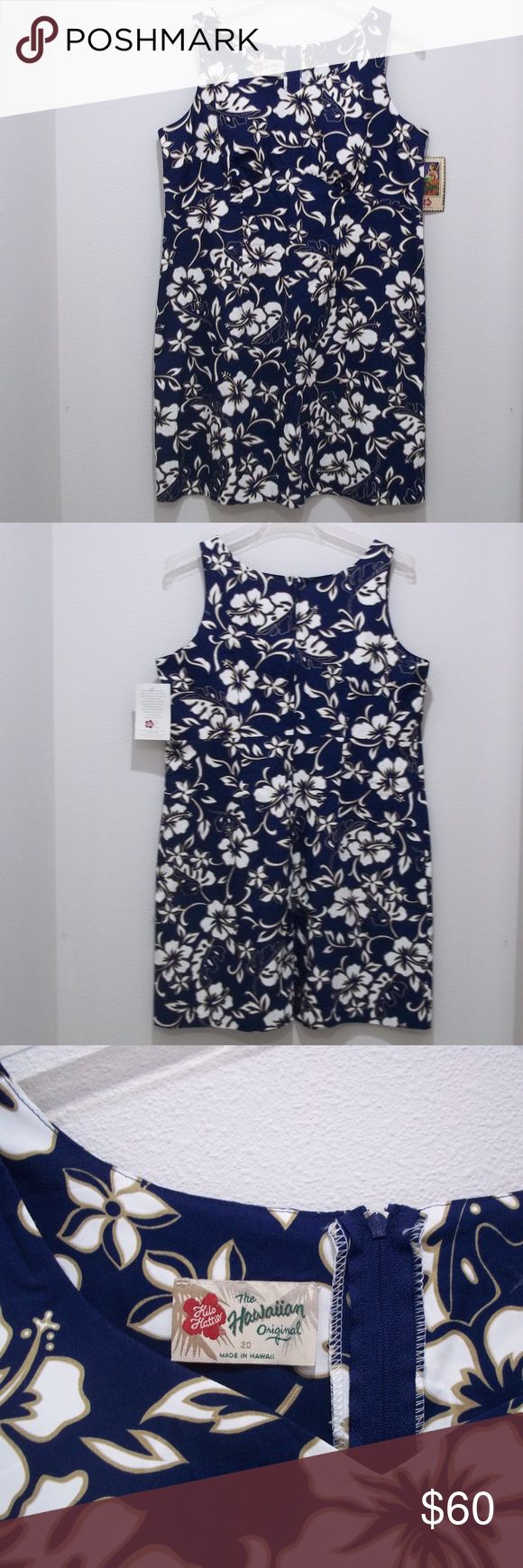 """Hilo Hatties Dress Hawaiian Blue White Hibiscus Hilo Hatties Dress Womens Size 20 Hawaiian Blue White Hibiscus Plumeria  #1839  This dress is new with tags attached.   Please check the measurements, not all sizes are created equally.  BRAND: Hilo Hattie SIZE: 20  COLOR: Multi-Colored  MATERIAL: Cotton   MEASUREMENTS-  Pit-to-Pit: 21.5""""  Length: 38""""  Hips: 46""""   1801/10 Hilo Hattie Dresses"""