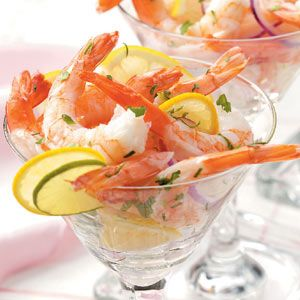 1/2 cup canola oil  1/2 cup lime juice  1/2 cup thinly sliced red onion  12 lemon slices  1 tablespoon minced fresh parsley  1/2 teaspoon salt  1/2 teaspoon dill weed  1/8 teaspoon hot pepper sauce  2 pounds medium shrimp, cooked, peeled and deveined