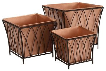 Hudson Copper Planters, Square, Set of 3 beach-style-outdoor-pots-and-planters