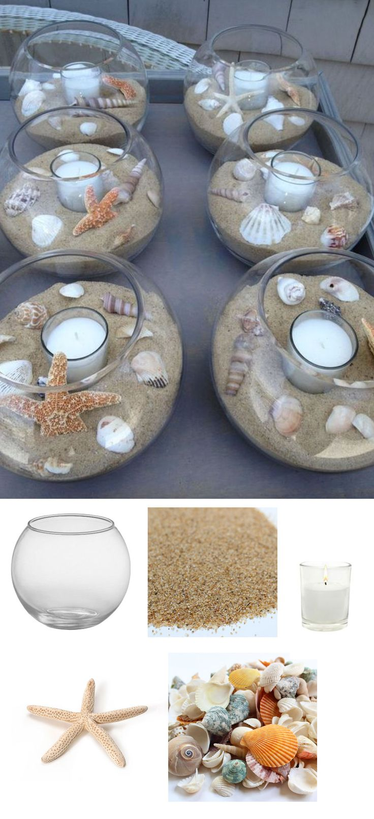 Easy DIY Beach Centerpiece. Recreate this centerpiece with glass bubble bowl, sand, votives, starfish and shells from afloral.com. #diywedding