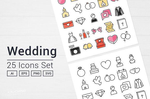 Wedding Day Icons Set by Krukowski Graphics on @creativemarket