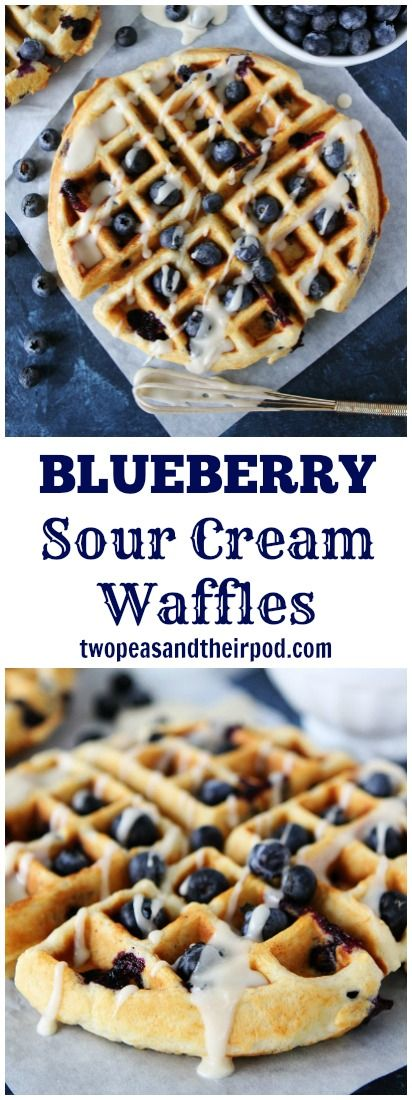 Blueberry Sour Cream Waffles These light and fluffy blueberry waffles are drizzled with a sweet maple glaze. They are a real breakfast treat! And they freeze beautifully!