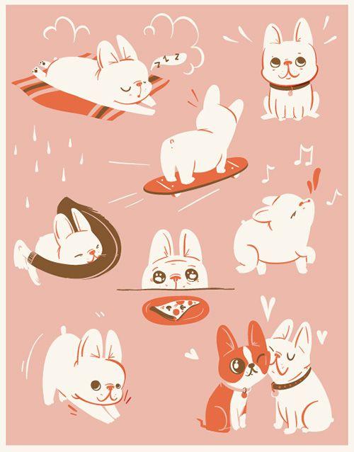 Bouledogue français / French bulldog - Cute doggie illustrations by Lauren Gregg