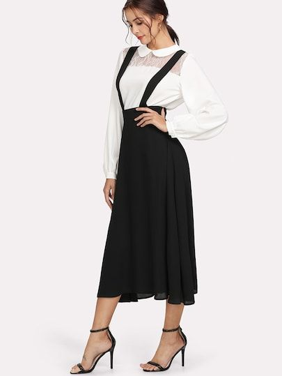 114f093371f Thick Strap Pinafore Skirt -SheIn(Sheinside)
