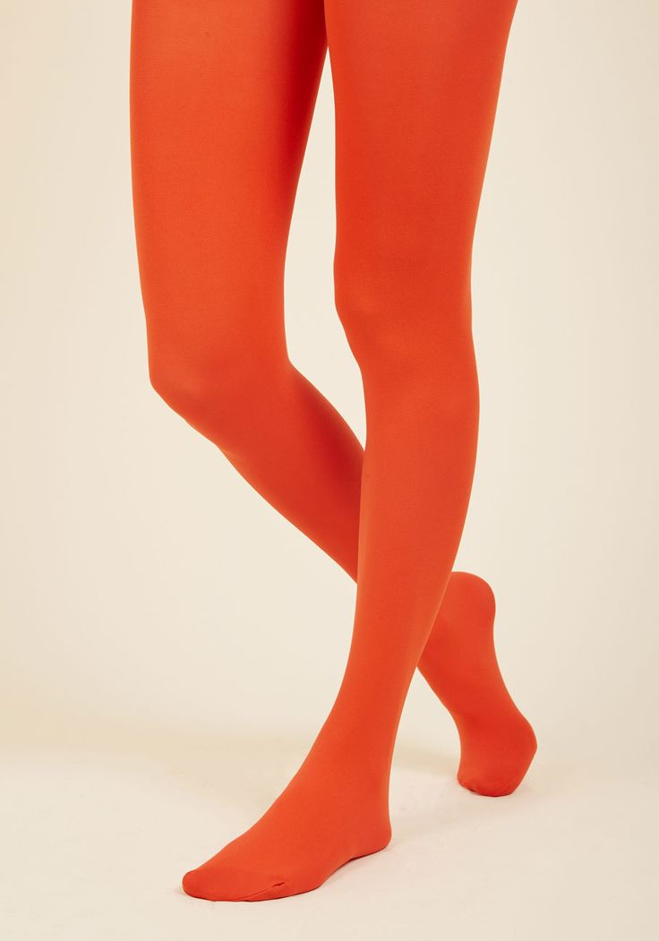 Accent Your Ensemble Tights in Persimmon. Add a pop of color to your day by pulling on these red-orange tights! #red #modcloth