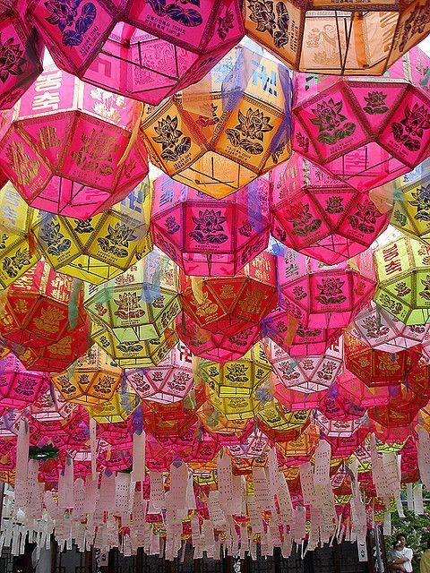 Colorfull traditional pink Korean lanterns, Seoul