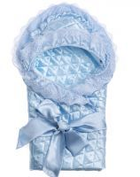Конверт-одеяло шелковый голубой для мальчика ОТК купить недорого