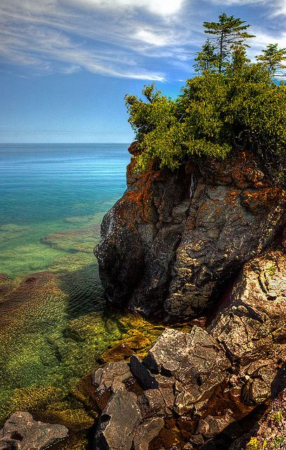 """12 O'Clock Point, Isle Royale, Michigan by yooper1949 on Flickr. """"This point got its name from one of the suppy boat captains in the old days that knew he was on schedule when he passed this point around noon. It is now also called Kamloops Point after the ship that sunk here in 1927."""""""