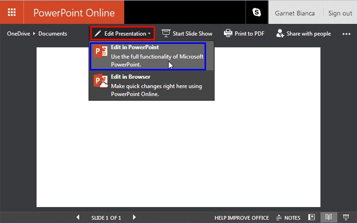 Opening #PowerPoint Presentation from within PowerPoint Online on #OneDrive