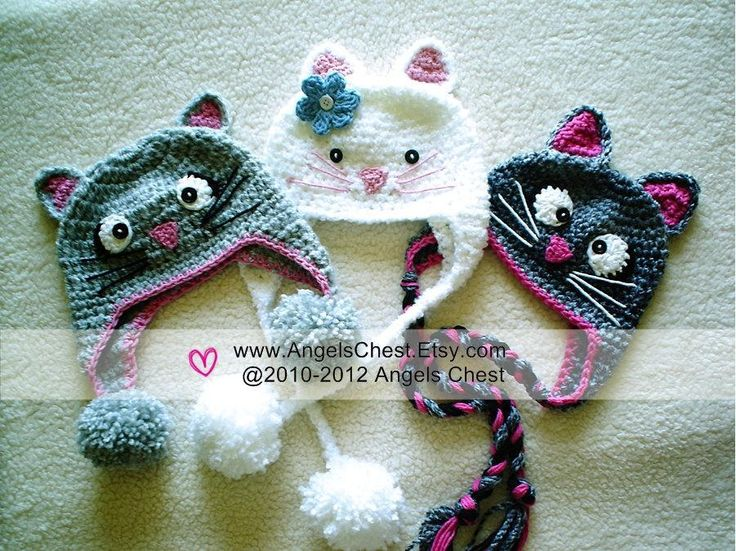($) KITTY CAT Hat Size Newborn to Adult, crochet pattern for purchase