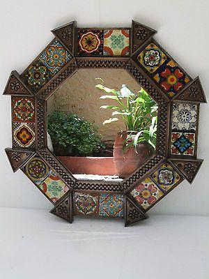 Punched Tin Round Mirror Mixed Talavera Tile Mexican Folk