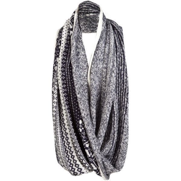 Soul Cal Deluxe Over Sized Fairisle Snood (£15) ❤ liked on Polyvore featuring accessories, scarves, wrap shawl, oversized scarves, aztec scarves and snood scarves