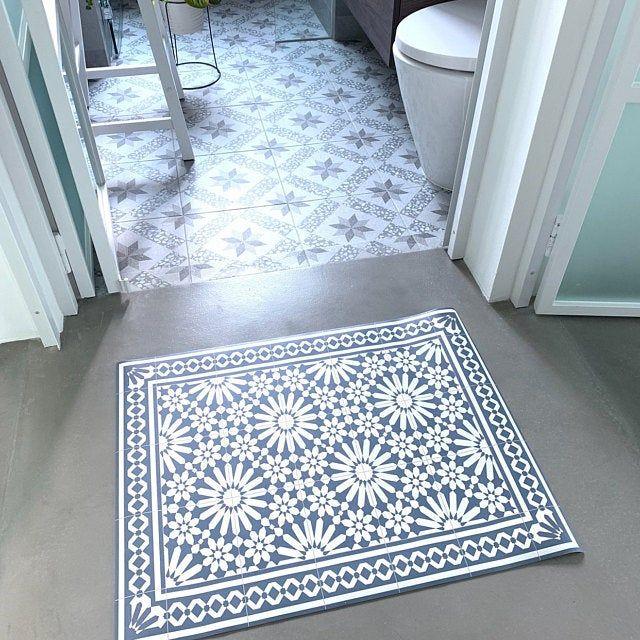 Vinyl Floor Mat With Moroccan Tiles In Blue And Red Linoleum
