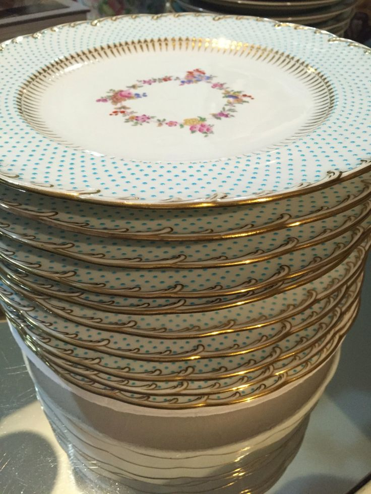 Antique Plates/Minton/10 Dinner Plates/China Dishes/Raised Turquoise Jeweled Enameled Beading/Hand Painted Floral Center/Fancy China & 670 best The Style Junkie\u0027s Antique Harvest images on Pinterest ...