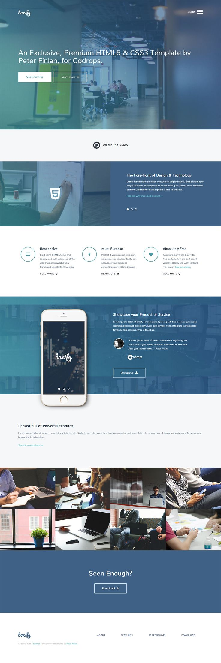 One Page Free Html Template
