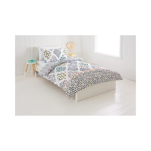 Reversible Olivia Comforter Set - Single Bed | Kmart ($15) ❤ liked on Polyvore featuring home, bed & bath, bedding, comforters, reversible bedding, reversible comforters and reversible comforter sets