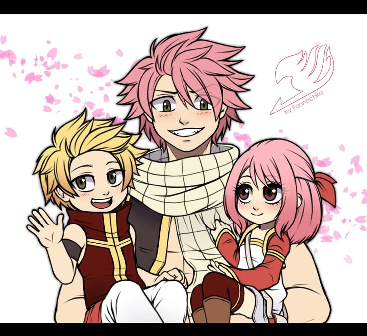Natsu and his kids | Fairy tail kids, Fairy tail family ...