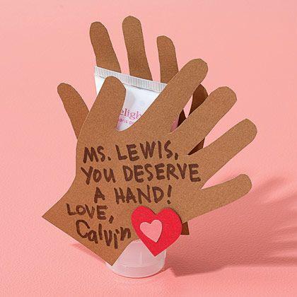What a great idea for the teacher!  Hand cream ValentineValentine Crafts, Teacher Gifts, Teachers Gift, Teachers Appreciation, Gift Ideas, Cute Ideas, Appreciation Gift, Valentine Ideas, Valentine Gift