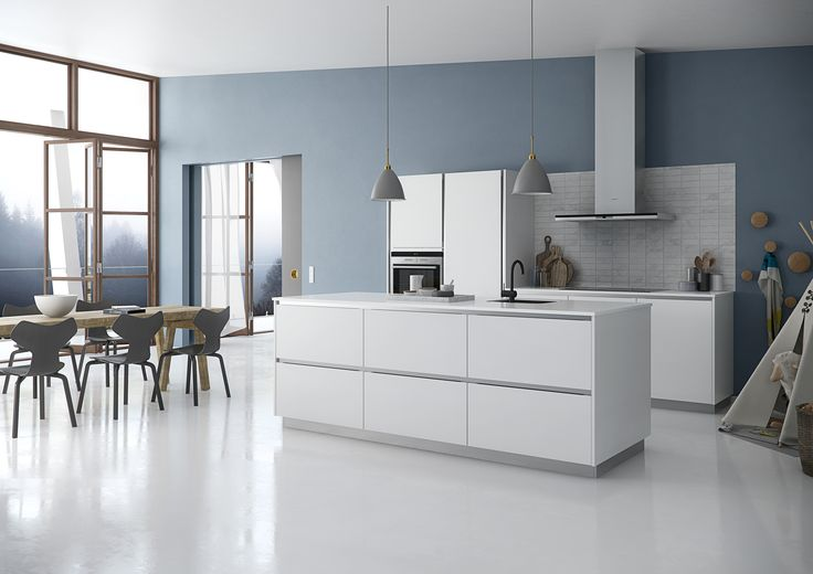 Tinta as the classic Sociable Kitchen, with room for everything. Create a simple, minimalist style with white profiles and a white laminate worktop.