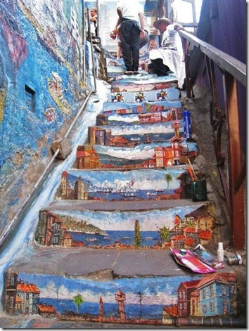 Valpito!Street Art Utopia, Streetartutopia, Painting Stairs, Chilis, Graffiti, Canvas, Travel, Valparaiso Chile, Stairways