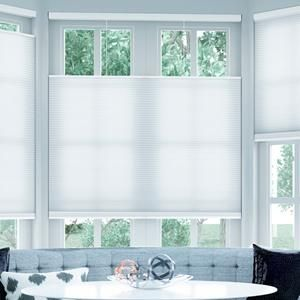 "Cordless Top Down Bottom Up Cellular Shades 5821 Ordered 18x54"" white for bay windows"