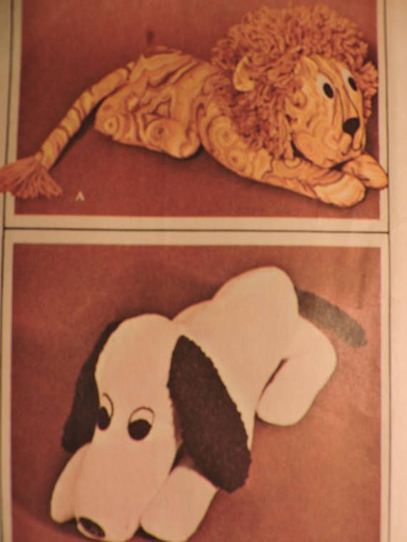 Dog & Lion Stuffed Animal Dolls Vintage McCall's 2183