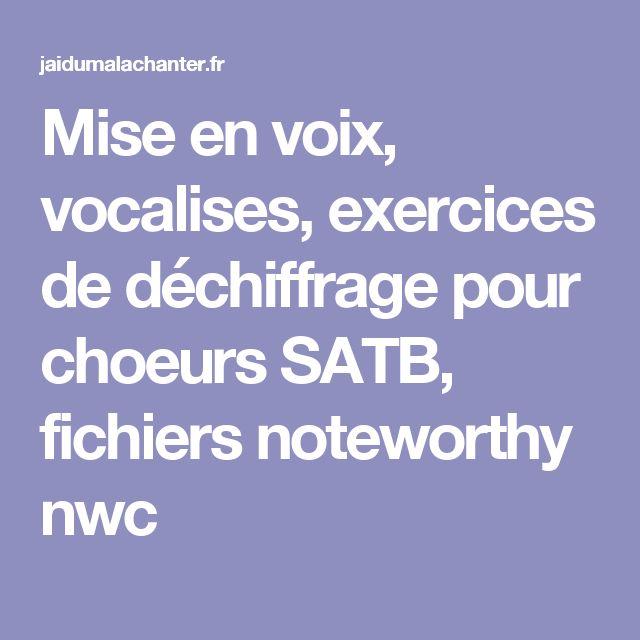 Mise en voix, vocalises, exercices de déchiffrage pour choeurs SATB, fichiers noteworthy nwc