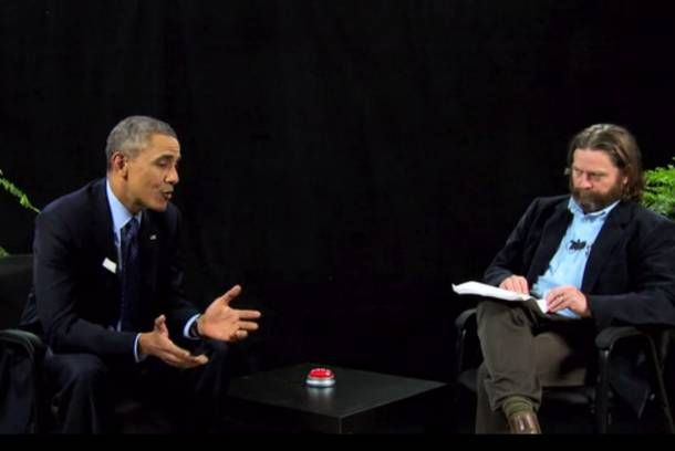 "Obama didn't just do ""Between Two Ferns,"" he DID ""Between Two Ferns."" He took host Zach Galifianakis's harsh burns and hit back with even harsher ones.. great clips to watch!!"