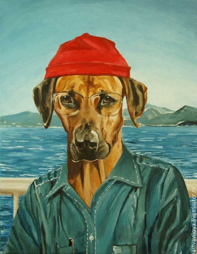 Купить Жак Ив Кусто - комбинированный, картина маслом, портрет собаки, портрет риджбек, риджбек