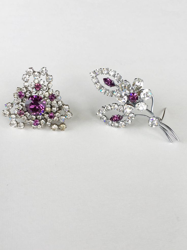 Collection of 2 Vintage Austrian Purple Glass Floral Paste Rhinestones Brooch by MariniJewellery on Etsy https://www.etsy.com/ie/listing/548276324/collection-of-2-vintage-austrian-purple