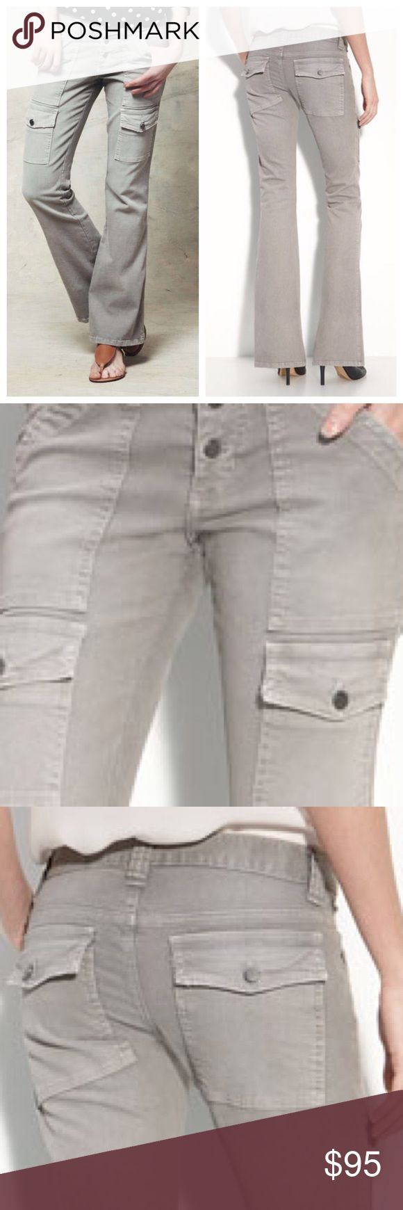 """BEST Fit EVER 🔥 JOIE So Real Cargo Jeans 26 An exposed button fly fronts utility-inspired cargo pants fashioned from soft cotton twill with a touch of stretch. Front slant pockets; button-flap cargo pockets; back flap pockets. Approx. inseam: 32"""" Rise 8"""" Cotton/spandex; machine wash. By Joie; made in the USA. Never worn tags attached. Joie Jeans Flare & Wide Leg"""