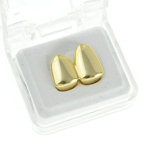 Original Best Grillz brand double cap tooth grillz. Dazzling gold plated finish with no stones for a clean and simple design. One-size-fits-all double cap grillz designed to go over your canines. Made from safe materials, nickel-free gold plating, brass metal. Easy instructions are included to mold your double tooth cap in a matter of minutes. These grillz are easily removable and reusable. Includes a storage case and a silicone molding piece.