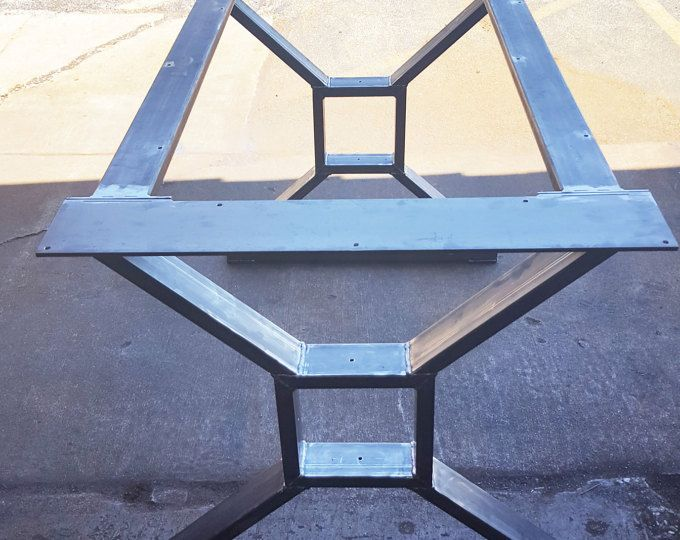 "Modern, Industrial Dining Table ""X"" Legs, Model #TTS09B, with 2 Braces,"