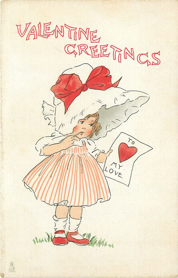VALENTINE GREETINGS  girl in red & white clothes with sun-bonnet reads valentine held in one hand