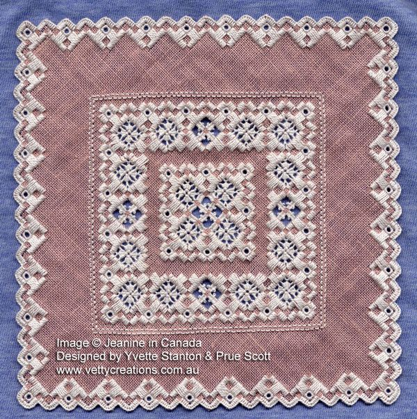 """Olena"" Hardanger embroidery design by Yvette Stanton, featured in Finelines magazine. Stitched by Jeanine in Canada."